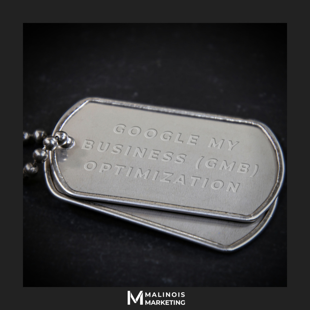 "Dog Tag with ""GMB optimization"" engraved on it"